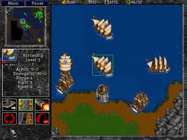 Warcraft 2 bietet im Vergleich zum Vorgänger erstmals Schiffseinheiten und die Ressource Öl.